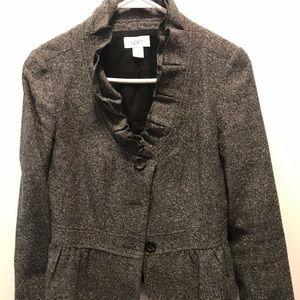 Loft black tweed ruffle blazer
